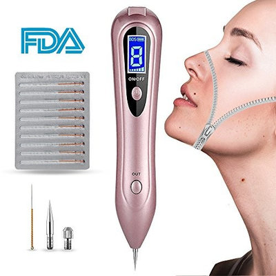 Skin Tag Remover, Playmont Rechargeable Spot Eraser Pro Pen with 8 Adjustable Levels and LCD Display for Wart Nevus Tatoo Freckles