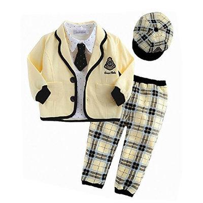 StylesILove Baby Boy Yellow Jacket, Shirt, Pants, Tie and Hat 5-pc Set (24-36 Months)