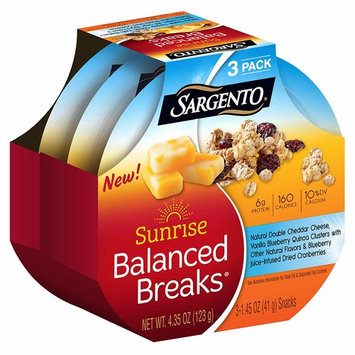 Sargento Foods Sunrise Balanced Breaks with Double Cheddar Cheese, Blueberry Juice-Infused Cranberries and Vanilla Blueberry Quinoa Clusters, 4.35 oz (Pack of 3)