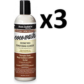 PACK OF 3] AUNT JACKIE'S COCONUT COCO WAHS MILK CONDITIONING CLEANSER 12oz: Beauty