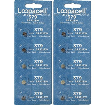 Loopacell Silver Oxide Batteries Size 379 (SR521SW) 10 Batteries