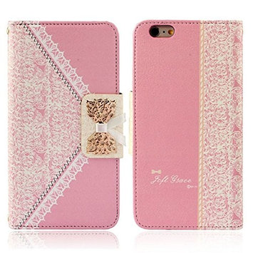 Doinshop New Nice Cute Exquisite Luxury Fresh Cute Flip Wallet Leather Case Cover for iPhone 6 Plus 5.5