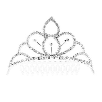 Frcolor Bridal Headpiece Rhinestone Comb Crown Bling Queen Tiara Comb Glittering Decoration for Wedding Hairpiece