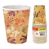 Hanna K Signature 2184913 9 oz Leaves Paper Hot-Cold Cup - Pack of 36 & 16 per Pack