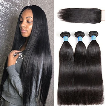 ILICY Hair 3 Bundles with Closure 10 A 100% Unprocessed Brazilian Virgin Straight Human Hair (18 20 22 inch,100g/bundle)+16 Closure(4x4) Human Hair Extensions Cheap Hair Natural Black color
