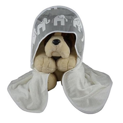 Blue Baby Bum 710560426492 Hooded Baby Towel Elephants One Size - White & Grey