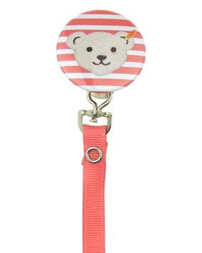 No Coral & White Teddy Bear Face Pacifier Clip