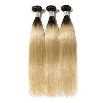 AOSUN HAIR Ombre Straight Hair 3 Bundles 10A Peruvian Virgin Straight Hair Weft 100% Real Human Hair Weave Extension 2 Tone Color 1b/#613 (20