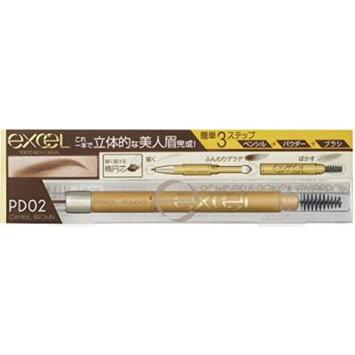 EXCEL Powder & Pencil Eyebrow PD02 Camel Brown