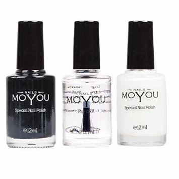 MoYou Nails Stamping Nail Polish Pack of 3: Black, White and Top Coat Colours used for Stamping Nail Art to Create Beautiful Shinny and Fashionable Nails Sourced Directly from the Manufacturer