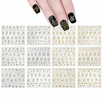 ALLYDREW 12 Sheets Gold Foil Vines & Floral Nail Stickers & Silver Foil Vines & Floral Nail Stickers Nail Wraps 3D Nail Art