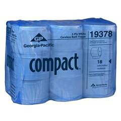 Compact Toilet Tissue Standard Roll 3.85 X 4.05 Inch 1500 Sheets, CS/18, 2 Pack