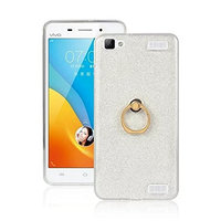 Moonmini Vivo Y37 Case Cover Sparkling Slim Fit Soft TPU Back Case Cover with Ring Grip Stand Holder 2 in 1 Hybrid Glitter Bling Bling TPU phone Case Cover