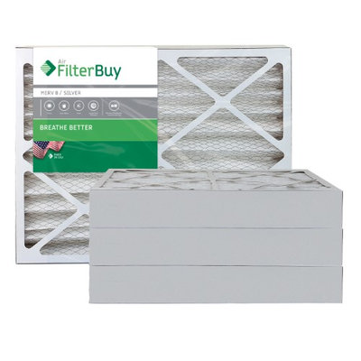 AFB Silver MERV 8 24x24x4 Pleated AC Furnace Air Filter. Filters. 100% produced in the USA. (Pack of 4)