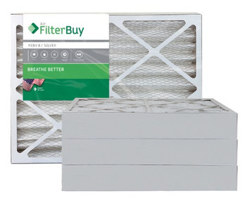 AFB Silver MERV 8 20x23x4 Pleated AC Furnace Air Filter. Filters. 100% produced in the USA. (Pack of 4)