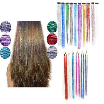 Dingli Hair 2pcs 100 Strands Synthetic Fibre Glitter Hair Tinsel Extensions