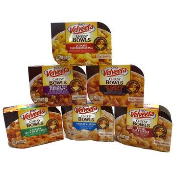 Velveeta Variety Pack Cheesy Bowls Microwave Tray: Bacon Mac & Cheese, Buffalo Style Chicken Mac, Bean & Rice Burrito Bowl, Lasagna w/ Meat Sauce, Ultimate Cheeseburger Mac, Chicken Alfredo