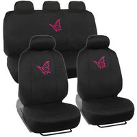 BDK Pink Butterfly Design Car Seat Covers, Full Set, 9 Piece