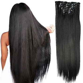 Fashion Women 24 Inches Straight Full Head 6 Separate Pieces Heat Resistance Synthetic Hair Clip in Hair Extensions 140g (1B#)