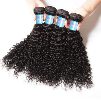 Donmily 10A Brazilian Virgin Curly Hair 4 Bundles Weave 100% Unprocessed Brazilian Sexy Human Hair Extensions Natural Color 16 18 20 22 Inch