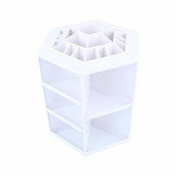 360 Degree Rotating Cosmetic Makeup Organizer,Tidy Organizer Cosmetic Display Brush Lipstick Storage Stand Box,White