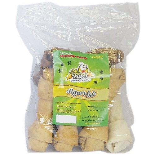 Mr Bites 9-Inch Rawhide Bone for Dogs, Assorted Flavor, 8-Pack