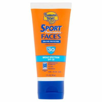 Banana Boat Sport Performance Broad Spectrum Faces Sunscreen Lotion, SPF 30 3.0 fl oz(pack of 3)
