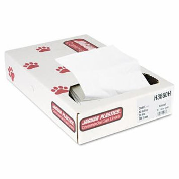 Jaguar Plastics - Heavy Grade Can Liners, 60gal, 13mic, 38 x 60, Natural - 200/Carton - Trash Bags, Star seal bottom helps prevent leakage, High-density polyethylene offers superior film strength.