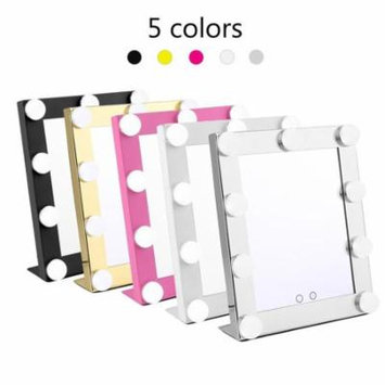 Square Shape Desktop Dimmable 9 Leds Lighted Makeup Mirror For Facial Makeup Cosmetic Tabletop Mirror, Pink