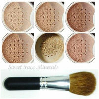 XXL KIT with BRUSH Full Size Mineral Makeup Set Bare Skin Powder Foundation Cover by Sweet Face Minerals (Warm)