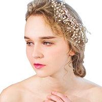 YAZILIND Beauty Women's Bridal Wedding Hair Clip Barrette Alloy Beads Rhinestones Party Hair Accessories