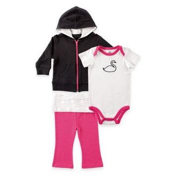 Yoga Sprout White & Pink Swan Bodysuit Set