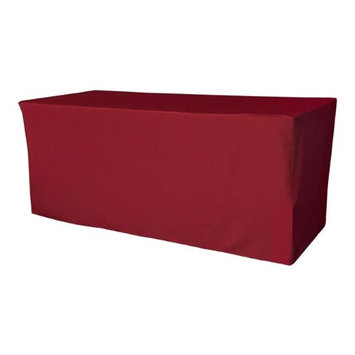 LA Linen TCpop-fit-96x30x30-CranberryP28 2.77 lbs Polyester Poplin Fitted Tablecloth Cranberry