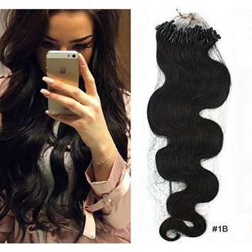 SHINING STYLE Body Wave Micro Loop Ring Hair Extensions Remy Brazilian Human Hair 100 Strands 1g/strand Natural Color (18''(45cm))