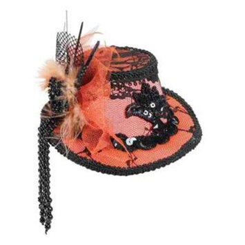 Mini Orange Lace Top Hat