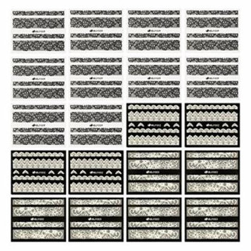 Wrapables® Black & White Lace Nail Stickers Fashionable 3D Nail Art (20 sheets)