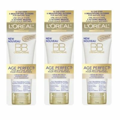 LOreal Paris Age Perfect BB Cream Instant Radiance, 2.5 Ounce - 3 Pack + Scunci Black Roller Pins, 18 Pcs