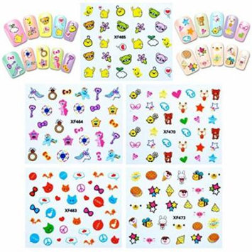 Wrapables® Funky Cute Funky Patterns Nail Art Nail Stickers 3d Nail Decals, 10 sheets (300+ nail stickers)