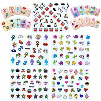 Wrapables® Funky Monsters Funky Patterns Nail Art Nail Stickers 3d Nail Decals, 10 sheets (300+ nail stickers)