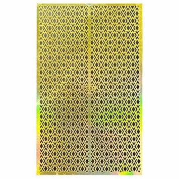 Wrapables® Gold Nail Art Guide Large Nail Stencil Sheet - Argyle