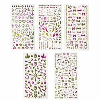Wrapables® Pink & Gold Foil Nail Art Nail Stickers, 5 sheets (450+ stickers) - Love