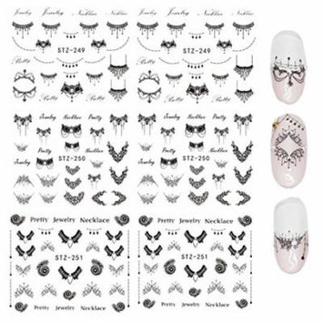 Wrapables® Black Necklaces Water Slide Nail Art Decals Water Transfer Nail Decals (6 sheets/Over 150 decals)