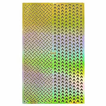 Wrapables® Gold Nail Art Guide Large Nail Stencil Sheet - Weave and Arrow