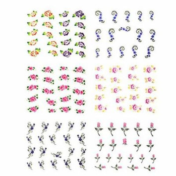 Wrapables® Florals Water Slide Nail Art Decals Water Transfer Nail Decals (100+ Nail Decals)