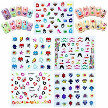 Wrapables® Funky Bling Funky Patterns Nail Art Nail Stickers 3d Nail Decals, 10 sheets (300+ nail stickers)