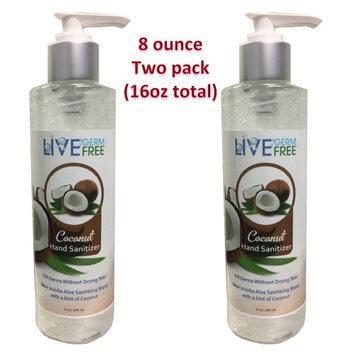 Live Germ Free Antibacterial Hand Sanitizer Gel with Jojoba Oil, Aloe Vera, & Vitamin E (8 oz Coconut 2-pack)