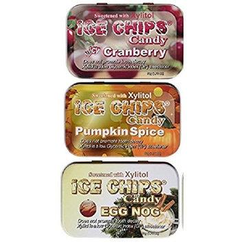 ICE CHIPS Candy 3 Pack Assortment (Eggnog, Pumpkin Spice, Cranberry)