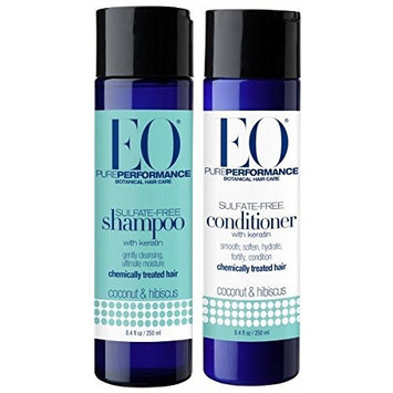 EO Coconut and Hibiscus Botanical Shampoo and Conditioner With Keratin, Lavender, Aloe Vera, Chamomile and Calendula