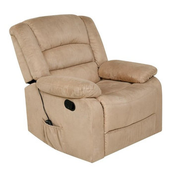 Relaxzen Beige Microfiber Rocker Recliner with Heat, Massage, USB