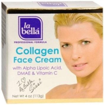 La Bella Collagen Face Cream + Vitamins C & E 4 Ounce Jar (113ml)